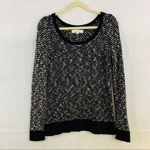 LOFT woman's black & white long sleeve sweater